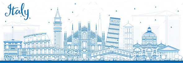 Outline Italy Skyline with Blue Landmarks - Buildings Objects