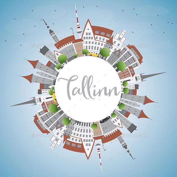 Tallinn Skyline with Gray Buildings - Buildings Objects