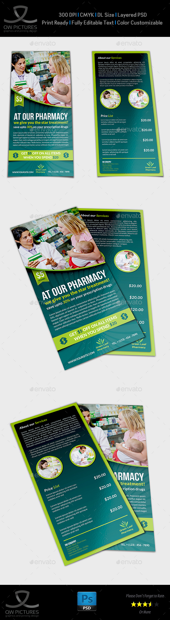 Pharmacy Flyer DL Size Template - Flyers Print Templates