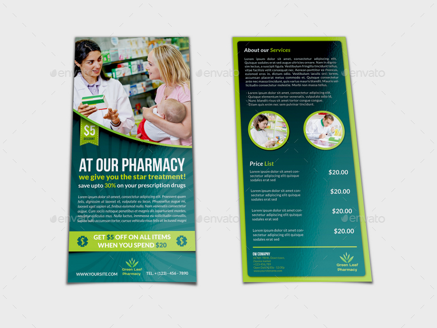 Pharmacy Flyer Dl Size Template By Owpictures Graphicriver
