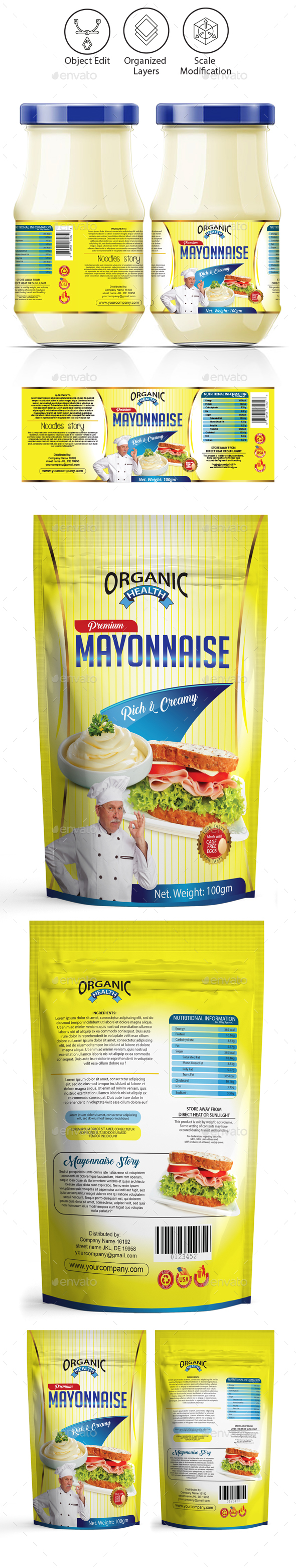 Mayonnaise / Sauce Packaging Template - Packaging Print Templates