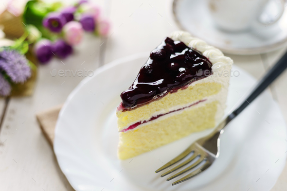 blueberry cake and cup of tea - Stock Photo - Images