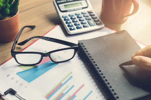 Desk office business financial accounting calculate - Stock Photo - Images