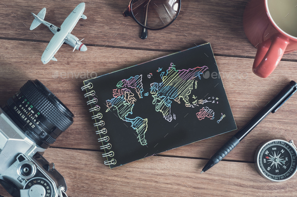 Traveler's accessories and items with black notebook and copy space - Stock Photo - Images