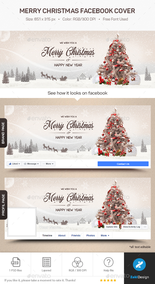 Merry Christmas Facebook Cover by zokidesign | GraphicRiver