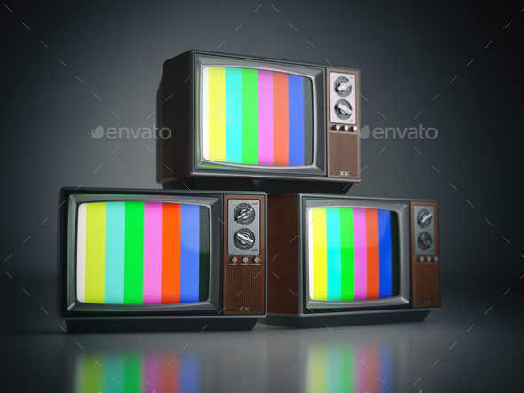 Heap of retro TV sets with no signal. Communication, media and t - Stock Photo - Images