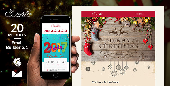 Santa Email Template + Online Emailbuilder 2.1 - Newsletters Email Templates