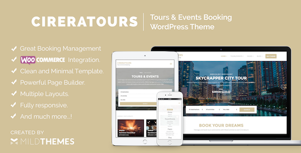 Cireratours - Tours/Events Booking WordPress Theme