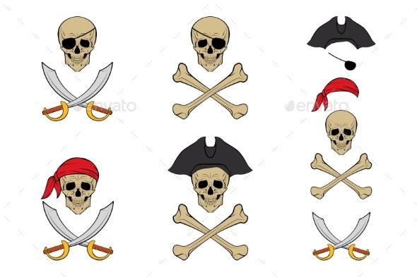 Pirate Skull Set - Tattoos Vectors