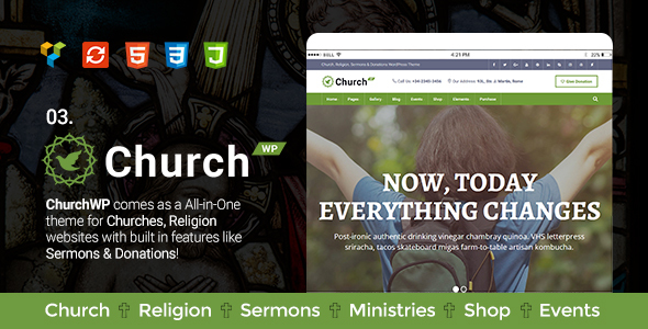 Church, Religion, Sermons & Donations WordPress Theme - ChurchWP