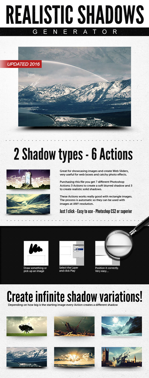 Realistic Web Shadow Generator - Photographic Shadows Action - Utilities Actions