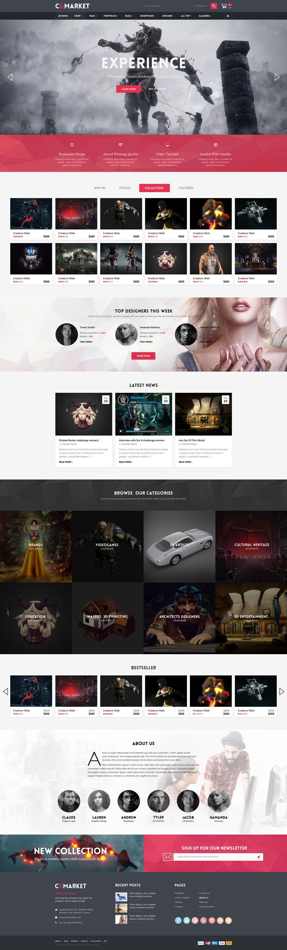 Dance CGMarket - 3D Model Marketplace Design PSD Template by tvlgiao