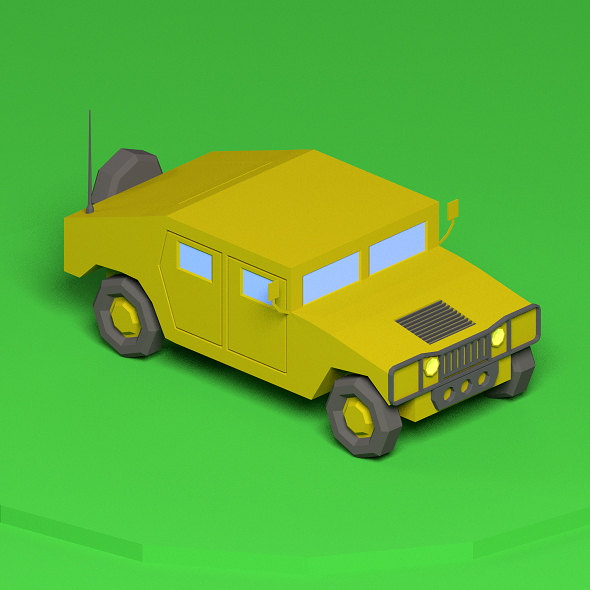 Low poly Humvee - 3DOcean Item for Sale