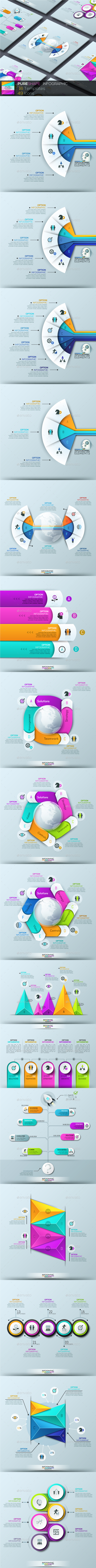 Pure Shape Infographic. Set 6 - Infographics