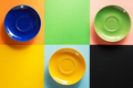empty saucer at colorful background - PhotoDune Item for Sale