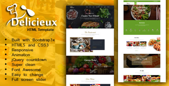 Mega Delicieux - Restaurant and Food HTML5 Template - Restaurants & Cafes Entertainment