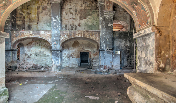 Interior of the abandoned church of All Saints - Stock Photo - Images