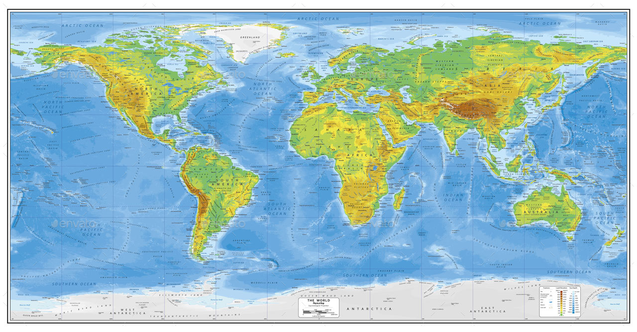 World Physical Map By Adriandragne GraphicRiver - Physical map of the world