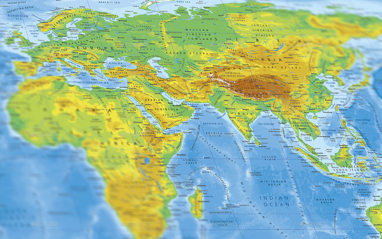 World Physical Map by adriandragne | GraphicRiver
