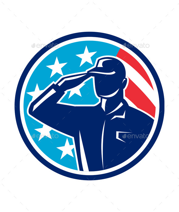 American Soldier Serviceman Saluting Flag Circle Retro - People Characters