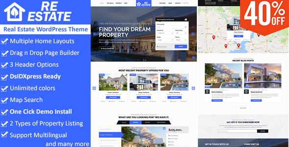 ReEstate – Real Estate with MLS IDX Listing WordPress Theme
