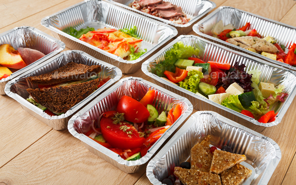 Healthy food in boxes, diet concept. - Stock Photo - Images