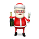 3D Illustration Santa Claus with Champagne Nulled