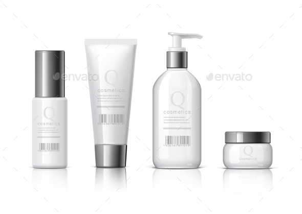 Set of Realistic Cosmetic Bottles - Retail Commercial / Shopping