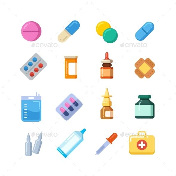Medicine Cartoon Pill, Drug, Table, Antibiotics - Miscellaneous Vectors