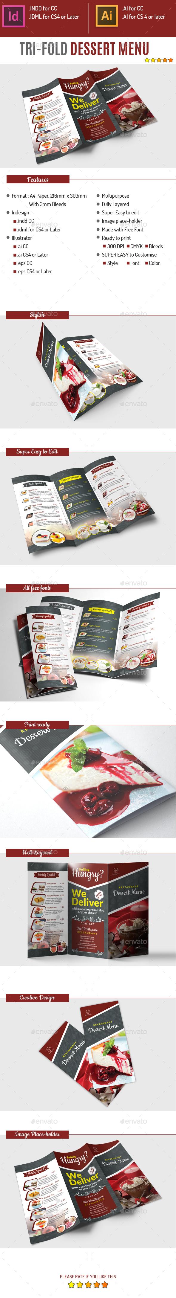 Tri-fold Dessert Menu - Food Menus Print Templates