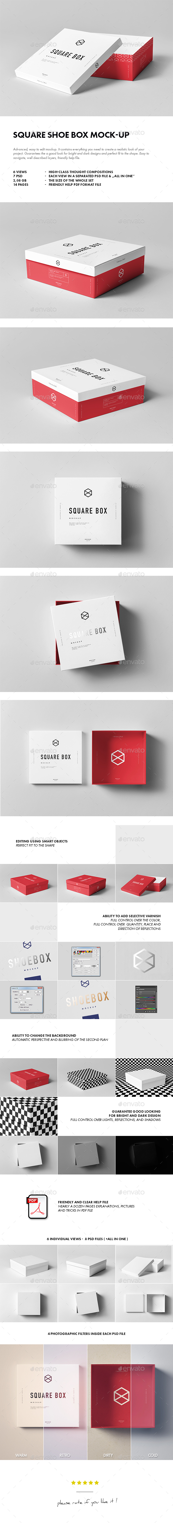 Square Shoe Box Mock-up - Miscellaneous Packaging