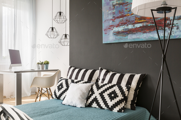 Bed with pillows - Stock Photo - Images