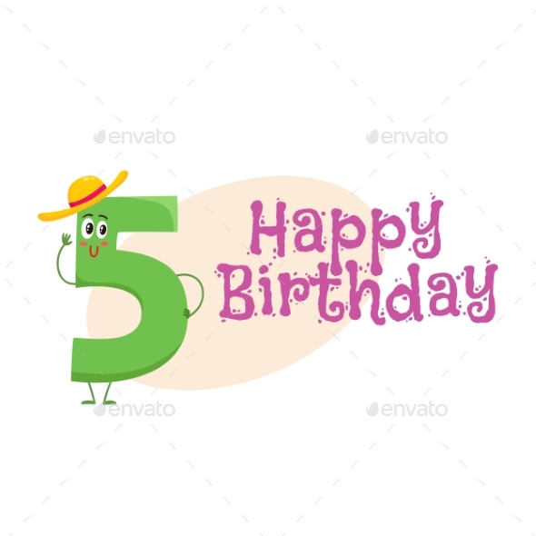 Happy Birthday Vector Greeting Card Design with - Birthdays Seasons/Holidays