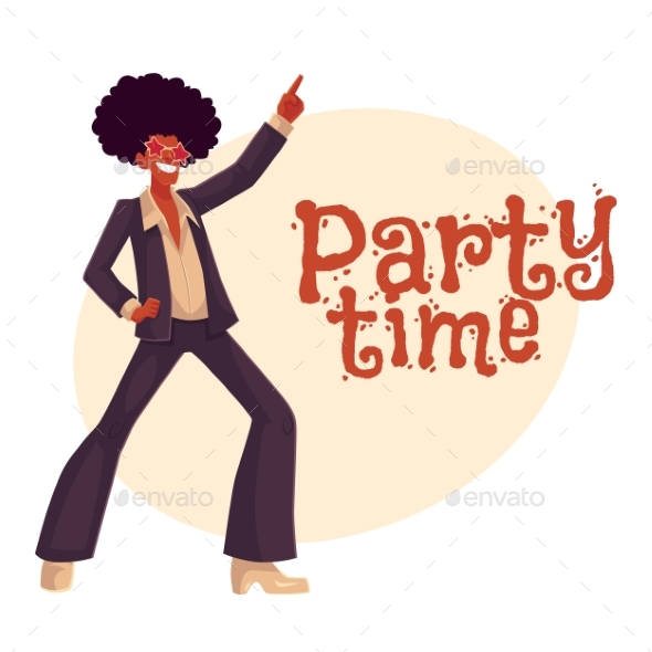 Man in Afro Wig and 1970s Style Clothes Dancing - Backgrounds Decorative