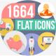 1664 Flat Trending Icons