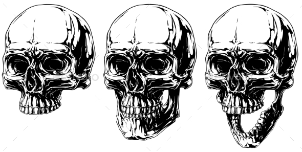 Detailed Horror Human Skull Graphic Set - Tattoos Vectors