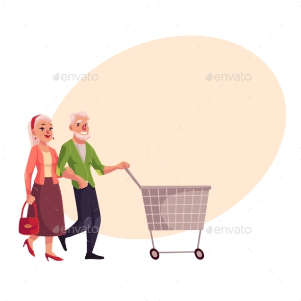 Old, Senior, Elder Couple Shopping Together - Retail Commercial / Shopping