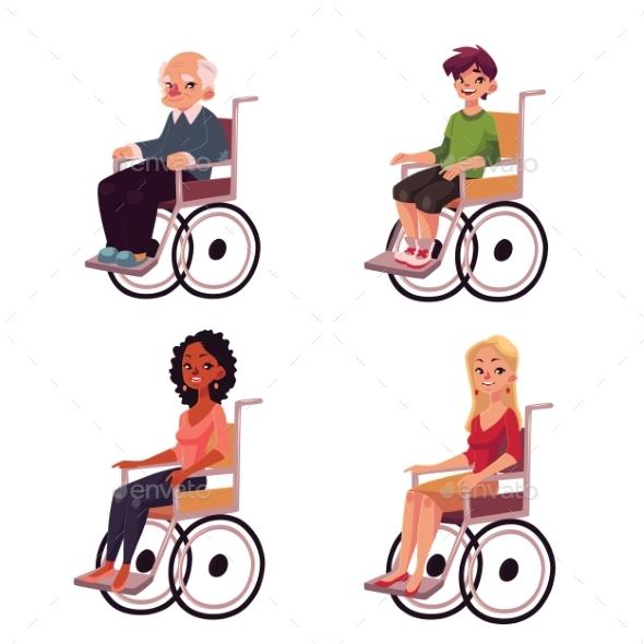 People in Wheelchairs - Old Man, Women, Teenage - People Characters