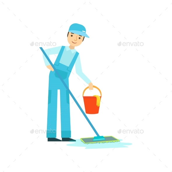 Man With Mop And Bucket Washing The Floor - Illustrations Graphics