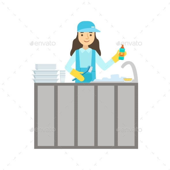 Girl Washing Dishes In The Tap, Cleaning Service - Illustrations Graphics