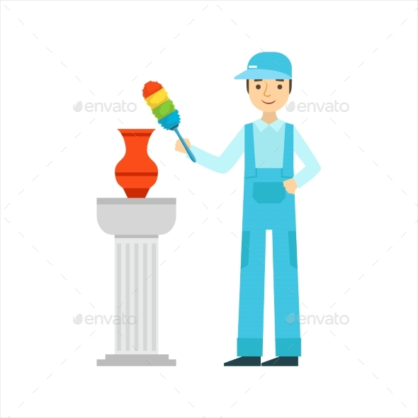 Man Dusting Antique Vase With Dust Brush, Cleaning - Illustrations Graphics