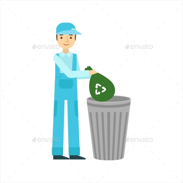 Man Throwing Garbage In Recycle Bin, Cleaning - Illustrations Graphics
