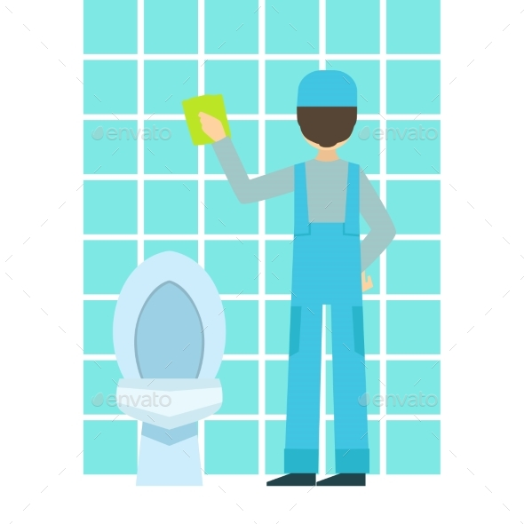Man Washing Tiles In Bathroom, Cleaning Service - Illustrations Graphics