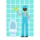 Man Washing Tiles In Bathroom, Cleaning Service