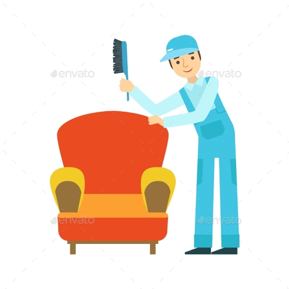 Man Dusting Armchair With Brush, Cleaning Service - Illustrations Graphics