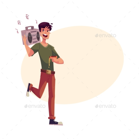 Young Man Dancing at Party with Tape Recorder on - People Characters