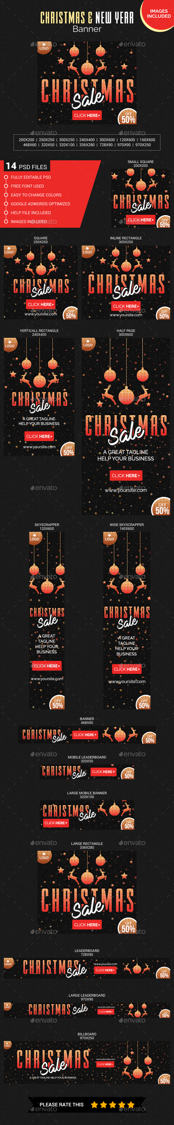 Christmas and New Year Banner (Images Included) - Banners & Ads Web Elements