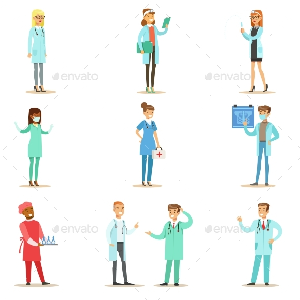 Doctors With Different Specializations Wearing - Illustrations Graphics