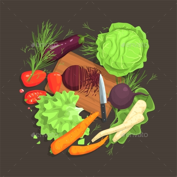 Still Life With Cooking Ingredients For Fresh - Illustrations Graphics