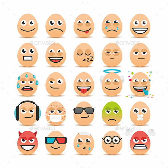 Set of Easter Eggs Emoticons - Miscellaneous Characters
